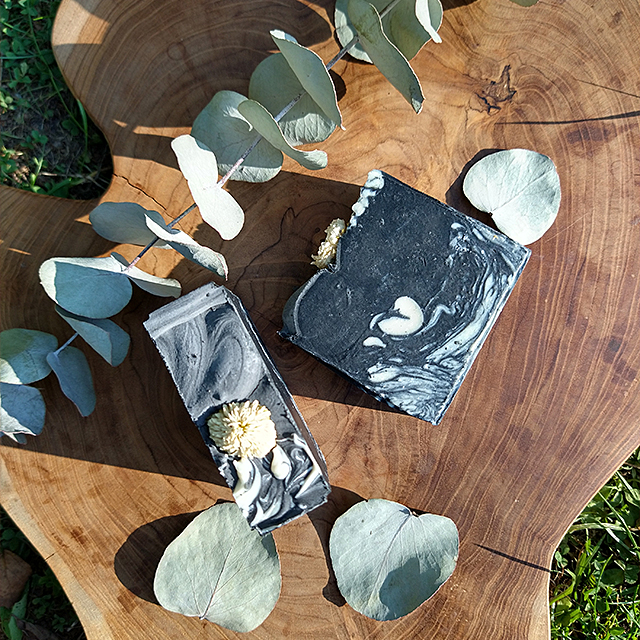 natural handmade artisan soap activated charcoal zinc oxide eucalyptus cedar wood chamomile