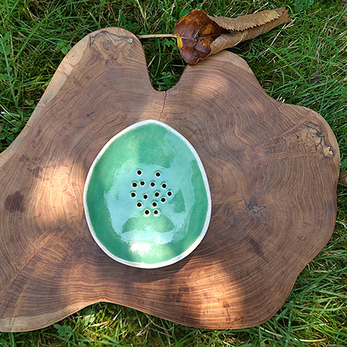 handmade artisan green ceramic soap dish