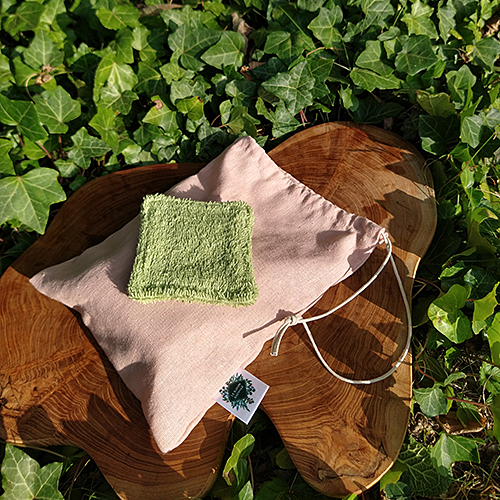 handmade artrisan natural oeko-tex certified cotton reusable make-up remover pads and linen viscose carrier or laundry bag