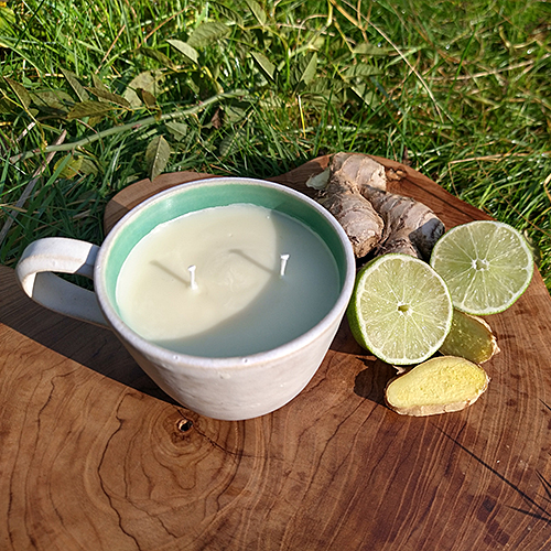 natural hand poured non gmo soy wax candle reusable food grade handmade wheel thrown ceramic cup double wick natural cosmetic grade perfume