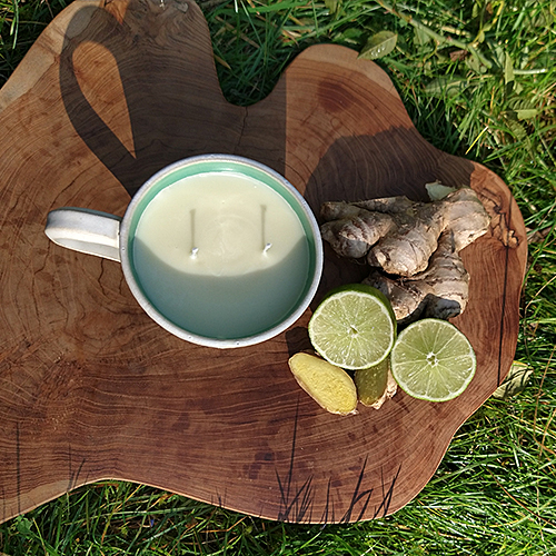 ceramic cup candle, lime ginger, natural candle, natural perfume, soy wax candle