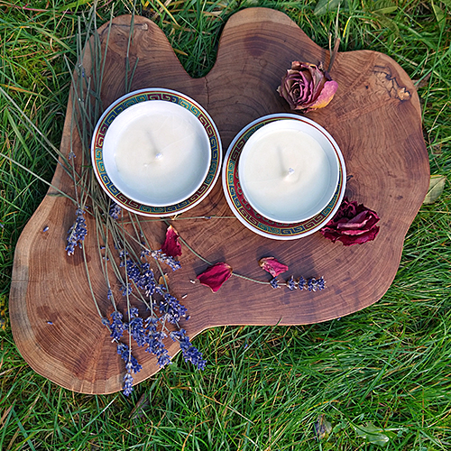 natural hand poured non gmo soy wax candle reusable food grade vintage porcelain cup natural cosmetic grade perfume