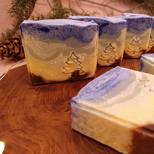 blue soap natural winter christmas landscape pine stamped soap le savon sauvage